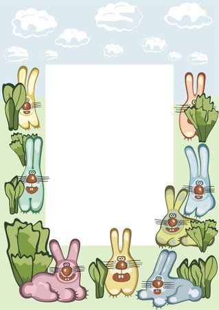 Photo or message frame with hares.  illustration Vector