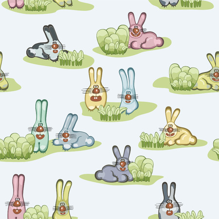 Seamless wallpaper with hares.   illustration Vector
