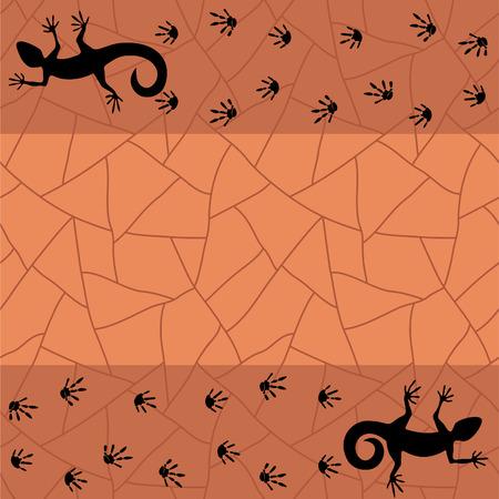 chap: Grunge background with lizard. Vector illustration Illustration
