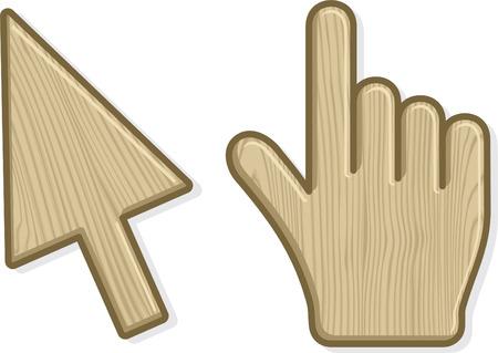 Two wooden cursors. Vector illustration Vector