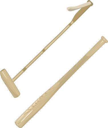 Polo Sticks and Baseball Bat.