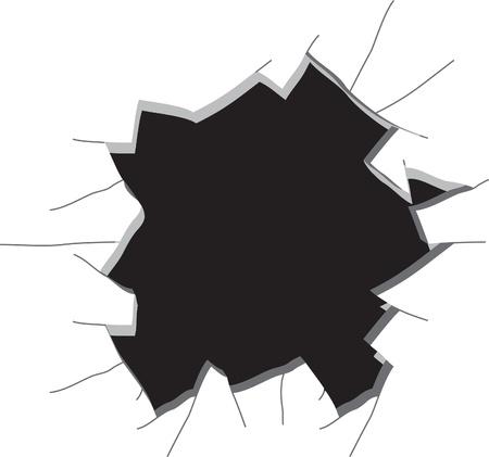 vetro rotto: Buco nel muro. Illustrazione vettoriale