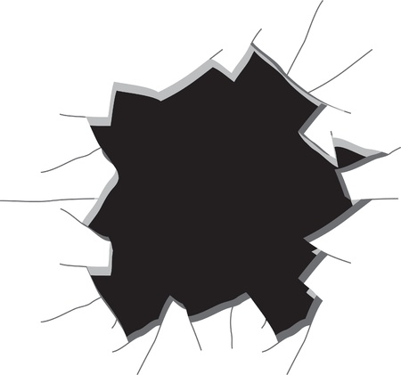 bullets: Hole in a wall. Vector illustration