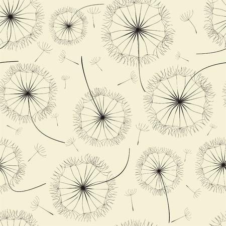 Dandelion seamless pattern. illustration Vector
