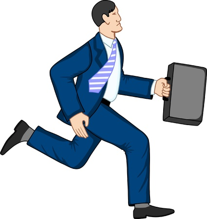 formal signature: Running businessman with briefcase Illustration