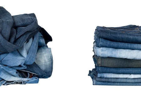 disarrangement: jeans isolated on white background Stock Photo