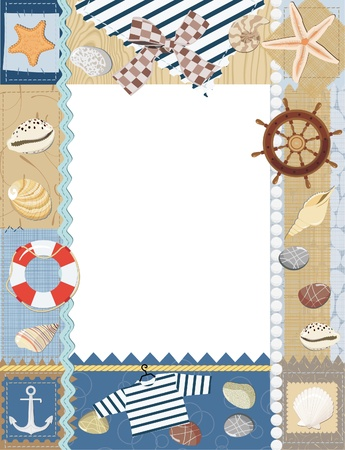 Marine photo frame. Vector illustration Vector