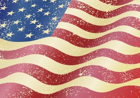 Américaine grunge flag. Effet grunge peuvent être nettoyés facilement. Vecteurs