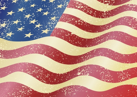 American grunge flag. Grunge effect can be cleaned easily. Vector