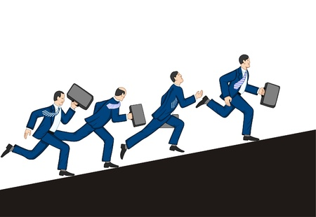 Businessmen running up. Vector illustration Vector