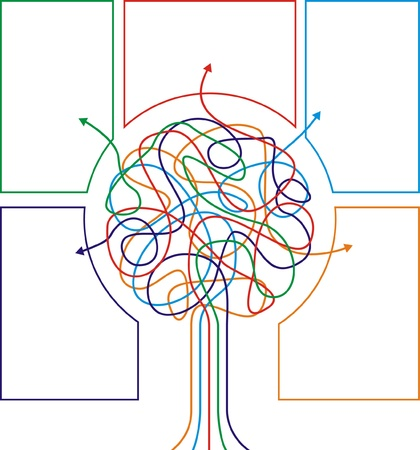 conceptual symbol: Concept of colorful tree with arrows for different business design. Vector illustration