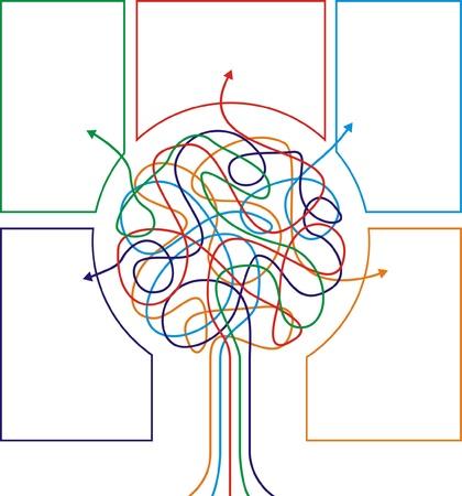 proceso: El concepto de �rbol de colorido con las flechas para el dise�o de los diferentes negocios. Ilustraci�n vectorial