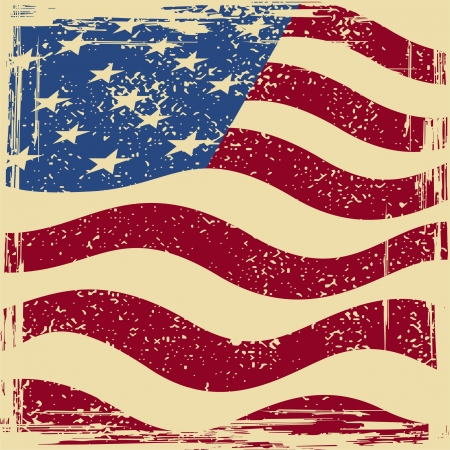 american history: American grunge flag. Grunge effect can be cleaned easily. Illustration