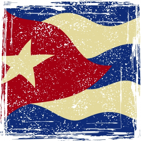 Cuba grunge flag. Grunge effect can be cleaned easily.  Vector