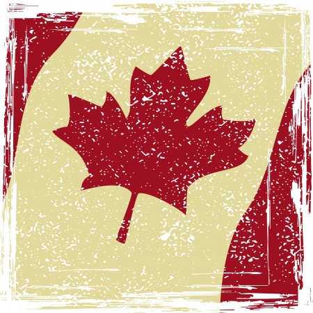 Canadian grunge flag. Grunge effect can be cleaned easily.  Vector