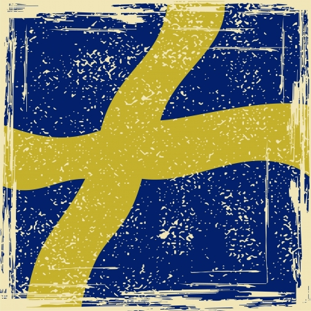 cleaned: Swedish grunge flag. Grunge effect can be cleaned easily. Illustration