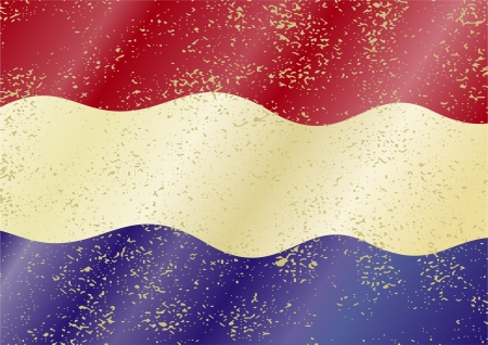 Dutch grunge flag. Grunge effect can be cleaned easily. Vector