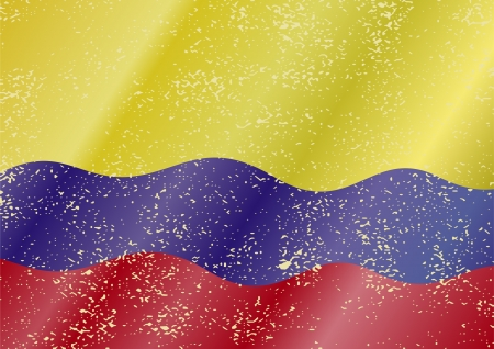 Colombian grunge flag. Grunge effect can be cleaned easily. Vector