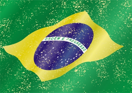 cleaned: Brazilian grunge flag. Grunge effect can be cleaned easily. Illustration