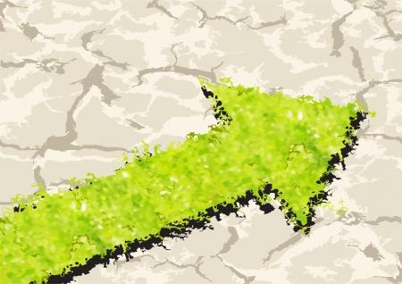 Grass Arrow on crack ground. Vector illustration Vector