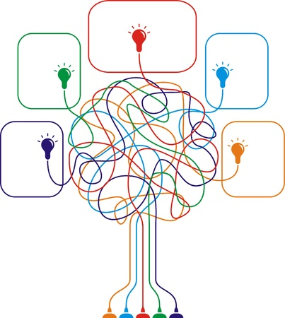 Concept of colorful tree with bulbs for different business design.illustration