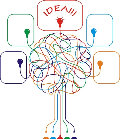 Concept of colorful tree with bulbs for different business design.  illustration Vector