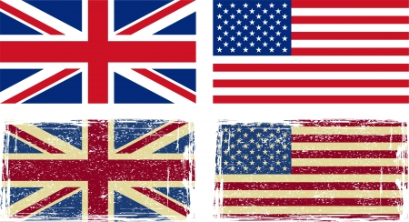 distressed texture: British and American flags illustration