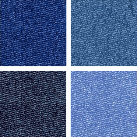 mezclilla: Cuatro versiones diferentes de la textura vaqueros. Vector