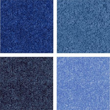 Vier verschillende versies van de jeans textuur. Vector