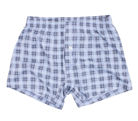 Checkered boxer shorts  Isolated on a white background photo