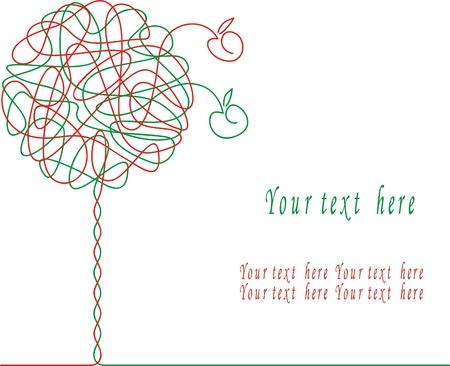 green apples: Abstract apple tree. Illustration