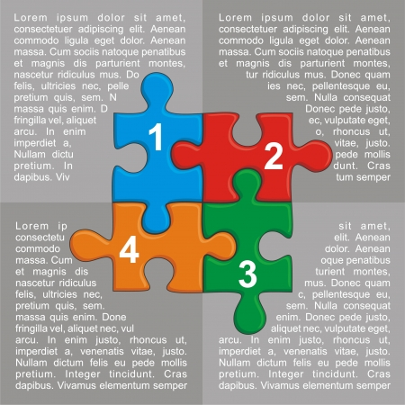 Illustration with puzzle and place for your text. For different business design. Vector