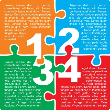 Puzzle with numbers and place for your text colors background.