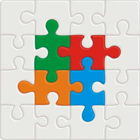 Many-colored puzzle pattern (removable pieces). Vector