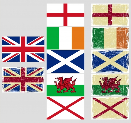 cleaned: Great Britain flags. Grunge effect can be cleaned easily.