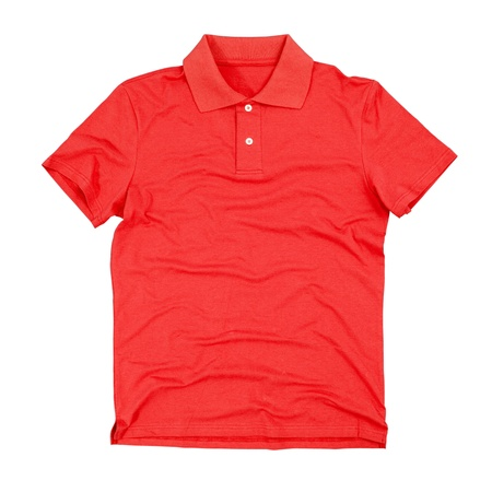 red shirt: Photograph of blank polo t-shirt isolated on white background.  Stock Photo