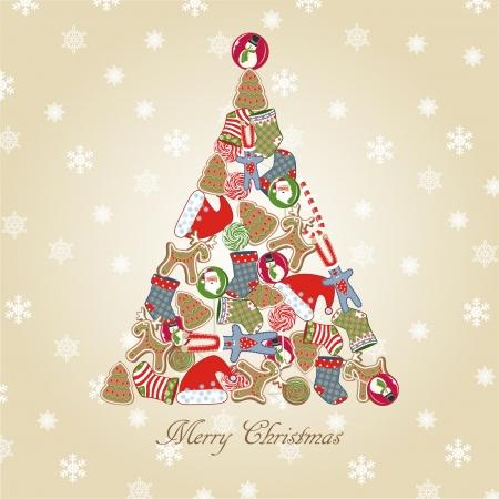 bunny xmas: Christmas tree.  Illustration
