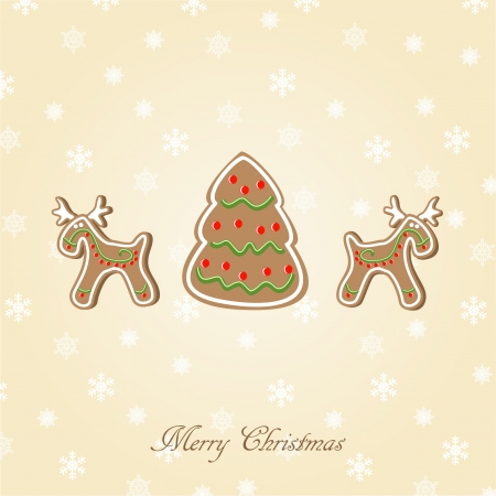 christmas cookie: Candy Christmas card. illustration