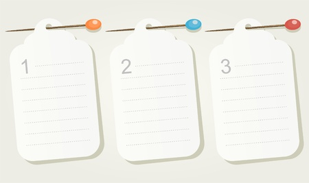 pinned: Set of three numbered pinned blank sheets of paper.
