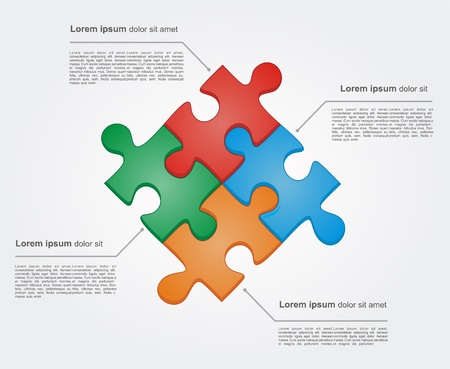 Concept of colorful puzzle pieces with place for yuor text. Vector