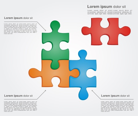 Concept of colorful puzzle pieces with place for yuor text. Vector illustration for different business design  Vector