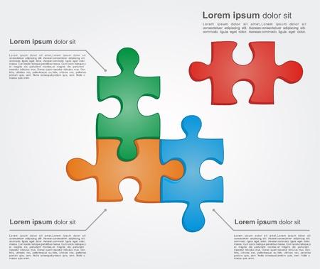 Concepto de piezas de rompecabezas coloridos con lugar para el texto yuor. Ilustraci�n vectorial para dise�o de negocio diferente
