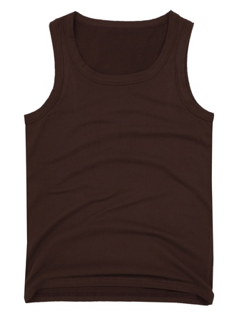 unisex: Sin mangas unisex camisa marr�n aisladas sobre fondo blanco