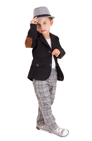 one little boy: Cool pretty stylish little boy isolated on white background.  Clipping paths included.