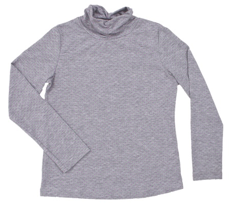 turtleneck: Polka-dot grey turtleneck. Isolated on a white background. Stock Photo