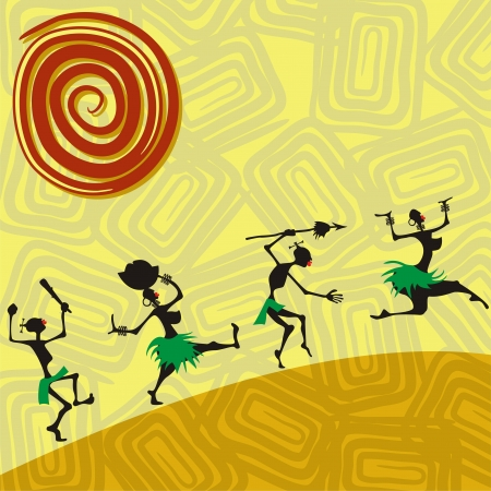 African traditional picture with silhouettes of people illustration Vector