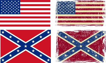 Confederate and American flags  Vector illustration Vector
