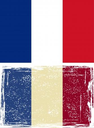 french flag: French grunge flag  Vector illustration