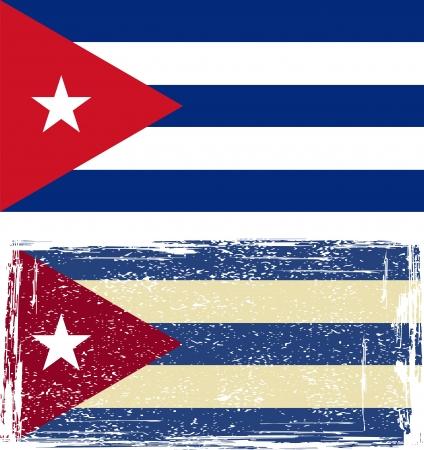 cuban flag: the Cuban grunge flag  Vector illustration