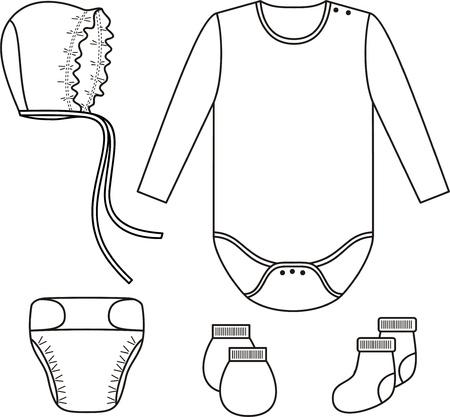 bootees: Set of child wear  Vector illustration Illustration